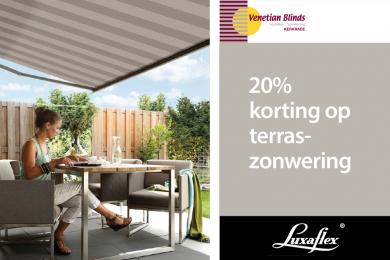 20% korting op terraszonwering